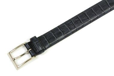 K.T.ルイストン30mm型押しクロコドレスベルトネイビー(K.T.LewistonKTB115NAVY)