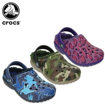 【25%OFF】クロックス(crocs) クラシック ラインド グラフィック クロッグ キッズ(classic lined graphic clog kids) キッズ/ボア/サンダル/シューズ/子供用[C/A]