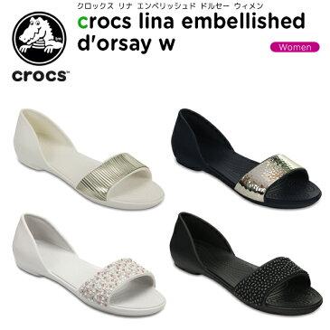 クロックス(crocs) クロックス リナ エンベリッシュド ドルセー ウィメン(crocs lina embellished d'orsay w) /レディース/女性用/シューズ/フラットシューズ[r][C/A]【20】【ポイント10倍対象外】