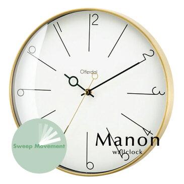 ウォールクロック【Manon】 スイープ ゴールド 掛時計 エレガント シンプル 人気 寝室 おしゃれ アナログ 掛け時計 壁掛け