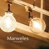 直付けスポットライト LED【Marweles】1灯 ガラス アンティーク シーリングライト おしゃれ カフェ レトロ 照明 洋風 キッチン トイレ