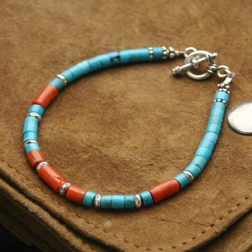 カレン 族 シルバー ビーズ ブレスレット ターコイズ 海の宝石、珊瑚。空を象徴する石、ターコイズ...