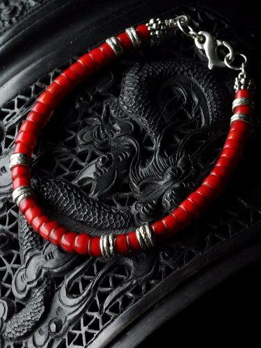 カレン 族 シルバー ビーズ ブレスレット ホワイトハート ナーガ族の装飾品として受け継がれたホワ...