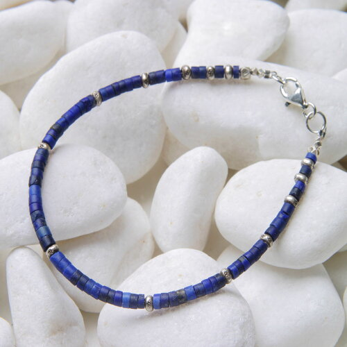 カレン 族 シルバー ビーズ ブレスレット ラピスラズリ マットな質感、輝きを抑えた品格のある青色...