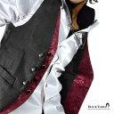 楽天ジレ ベスト 薔薇柄 バラ 花柄 フェイクレイヤードジレ パーティー 結婚式 日本製 ホスト メンズ(ブラック黒×ワインレッド赤) 927778 0601楽天カード分割