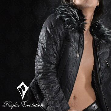 ダウン フェザー フェイクレザー キルティング ライダースジャケット メンズ(ブラック黒) 55506