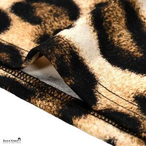 タートルニットヒョウ柄豹柄長袖メンズタートルネック