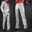 パンツ スラックス ノータック スリム 光沢 日本製 ズボン メンズ(シルバーグレー) 933036 0601楽天カード分割