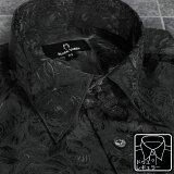 サテンシャツ ドレスシャツ ドゥエボットーニ 花柄 薔薇 ジャガード レギュラーカラー 無地 パーティー メンズ mens(ブラック黒) 161222