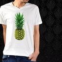 プリントTシャツ Vネック パイナップル 夏 果物 野菜 フルーツ 南国 半袖 Tシャツ メンズ mens(ホワイト白カラー) prt001