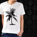 プリントTシャツ Vネック ヤシ 夏 椰子 海 ハワイ 南国 半袖 Tシャツ メンズ mens(ホワイト) prt003