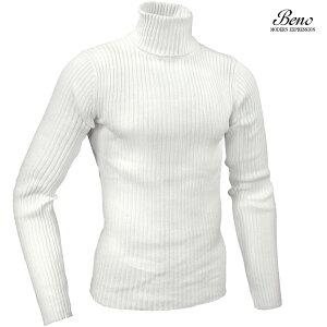 タートルネック ニット ハイネック リブ 無地 タートル セーター メンズ mens(ホワイト白) 130n2752