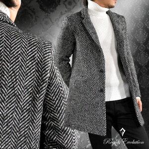 チェスターコート ツイード ヘリンボーン柄 ウール混 ロング コート メンズ mens(ブラック黒ホワイト白) 65506