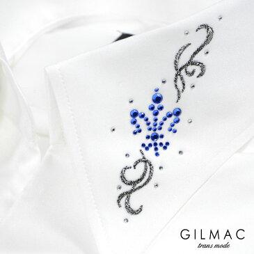 サテンシャツ 無地 日本製 スキッパー イタリアンカラー メンズ 襟 百合の紋章 花 ラインストーン 結婚式 ドレスシャツ mens(ホワイト白) 36743