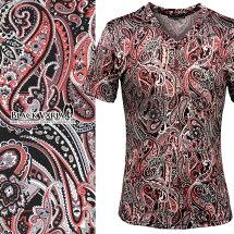 Tシャツペイズリー柄Vネック半袖メンズ日本製細身総柄半袖Tシャツ