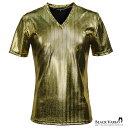 Tシャツ Vネック ヘリンボーン メタリック 光沢 箔 日本製 メンズ 細身 半袖Tシャツ mens(ゴールド金ブラック黒) 163917