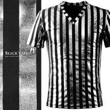 Tシャツロンドンストライプシルバー箔光沢Vネックメンズ日本製細身ストライプ半袖Tシャツ