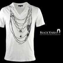 VネックTシャツネックレスだまし絵チェーン薔薇花メンズ半袖Tシャツ