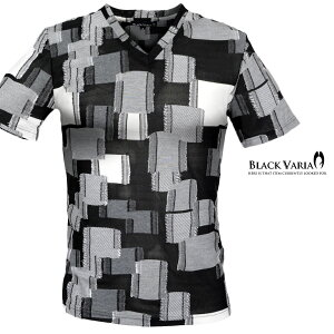 Tシャツ パッチワーク Vネック メンズ 日本製 ジャガード タイル 切替 薄手 半袖 スリム 半袖Tシャツ mens(ブラック黒グレー灰) 173320