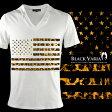 Vネック Tシャツ 星条旗 星 国旗 アメリカ USA アメリカン ヒョウ 豹 メンズ 半袖 Tシャツ(ホワイト白ブラウン茶) zkk050