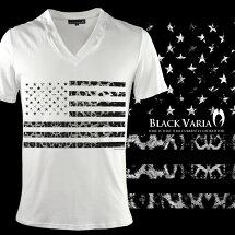 VネックTシャツ星条旗星国旗アメリカUSAアメリカンヒョウ豹メンズ半袖Tシャツ