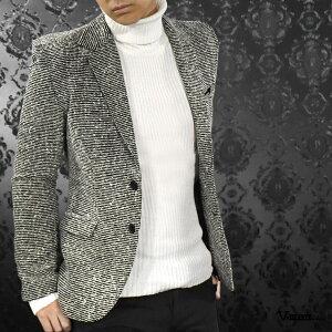 【Sale】ジャケット ウール混 モール ニット スリム スラブ ノッチドラペル 細身 ニットジャケット メンズ mens(ブラック黒ホワイト白杢グレー) 942505