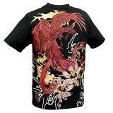 【Sale】からくり魂 絡繰魂 粋 Tシャツ 和柄 刺繍 メンズ 朱雀 花 クルーネック プリント 半袖Tシャツ mens(ブラック黒) 282085