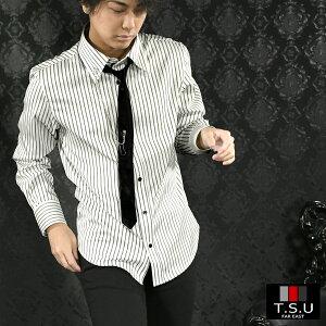 サテンシャツ ストライプ ネクタイ付き メンズ アクセサリー付き 長袖 ホスト ドレスシャツ mens(ホワイト白ブラック黒) 905593