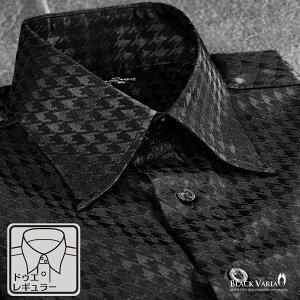 サテンシャツ ドゥエボットーニ チドリ 千鳥柄 ドレスシャツ レギュラーカラー ジャガード 光沢 パーティー メンズ mens(ブラック黒) 181712