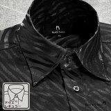 サテンシャツ ドレスシャツ ドゥエボットーニ ゼブラ柄 日本製 レギュラーカラー ジャガード パーティー メンズ mens(ブラック黒) 181722