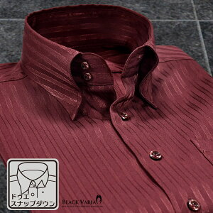 サテンシャツ ドレスシャツ ドゥエボットーニ ストライプ柄 スナップダウン 日本製 ジャガード パーティー メンズ mens(ワインレッド赤) 191850