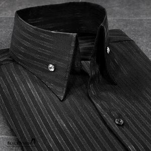 サテンシャツ ドレスシャツ スキッパー ストライプ メンズ ジャガード ボタンダウン スリム 日本製 無地 mens(ブラック黒) 191852