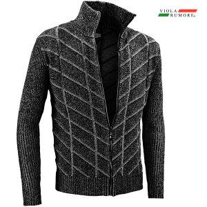 VIOLA rumore ヴィオラ ビオラ ニット フルジップアップ メンズ チェック柄 メランジ 薄手 ニットジャケット mens(ブラック黒) 01207