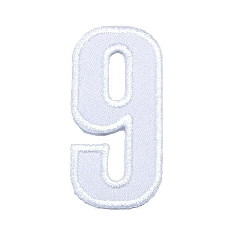 どれでも5枚以上で追跡可能メール便送料無料!アイロンで簡単貼り付け♪【ワッペン市場】ワッペン 白 数字 9 きゅう アップリケ 刺繍 アイロン 手芸 おなまえ 名前 入園グッズ 入園準備 保育園 幼稚園