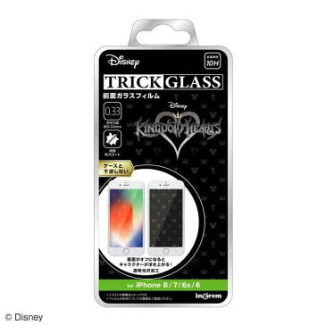 iPhone 8/7/6s/6 液晶画面保護ガラスフィルム キングダムハーツ シンボル トリックガラスフィルム 硬度10H 防汚コート 清潔 キャラ かわいい IN-DP7S6FG-KH1