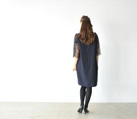 Lunaルナスリーブレースリボンワンピース・f-5539(全2色)(M)【2014秋冬】