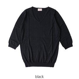 2017春夏新作 mao made マオメイド ピマコットン Vネック プルオーバー セーター・711122 #0407