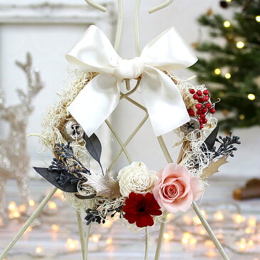 プリザーブドフラワー 写真印刷無料!バレンタイン ホワイト リース 送料無料 包装無料 誕生日 結婚祝 バレンタイン