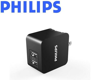 フィリップス ACアダプター [DLP2307-11] ブラック【送料別】スマホ タブレット 急速充電 自動車用充電器 USBウォール充電器 2ポート