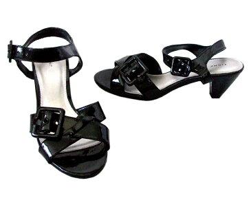 美品 FIONI フィオニ 「7」 黒エナメルヒールパンプス (靴 シューズ) 094447 【中古】