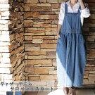 LARUラルー/ギャザーデニムサロペットスカートオーバーオール/サロペット・オールインワン/ボトムス/スカート/レディース/MLLL3L4L/レディース大きいサイズ洋服おしゃれファッションセールカジュアル通販楽天かわいい女性クローバー