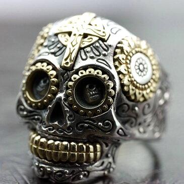 si 宗教的彫金 メキシカン スカル ドクロアイ シルバー リング 17号19号21号23号 メンズ チベッタンスカル風 シルバーリング 指輪 GOOD VIBRATIONS シルバー925 シルバーアクセサリー