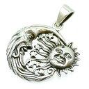 シルバー925 マヤ文明 月と太陽 ペンダントトップ m1 メンズ (ネックレス 太陽と月 顔 サン ムーン フェイス 三日月 シルバーアクセサリー)