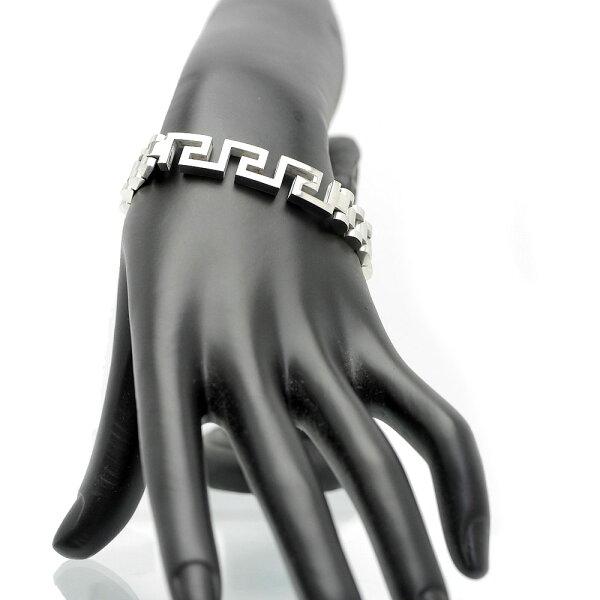 ウォッチベルト型デザインブレスレットメンズc2 銀色幅10mm長さ21cm ステンレス製中折れクリップ(シルバー腕時計ベルト中年