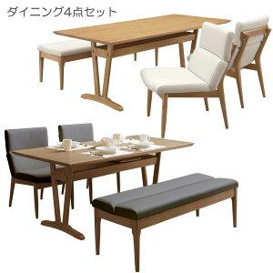 ダイニングテーブルセット 4人掛け 4点セット ベンチタイプ ホワイト おしゃれ ダイニング4点セット ダイニングセット 木製 ナチュラル ブラウン ブラック 4人用 ダイニングテーブル テーブ
