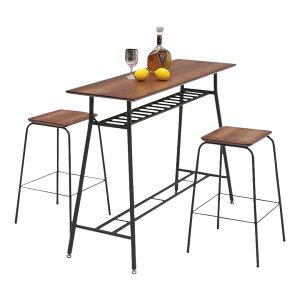 カウンターテーブルセット 3点セット アイアン 幅120cm 高さ85cm カウンターテーブル 棚付き カウンターチェア 2人掛け 2人用 スチール パイプ ヴィンテージ カウンター 木製 ブラック ブラウン
