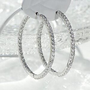 K18WG 【1.0ct】ダイヤモンド中折れフープピアス【27mm】/品質保証書 フープ 18k 18金 ホワイトゴールド ダイヤピアス ダイアモンド ピアス レディース ギフト プレゼント diamond pierced earrings 【楽ギフ_包装】:jewelry CHESS