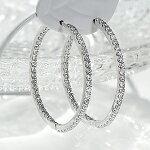 K18WG1.0ctダイヤモンド中折れフープピアス【27mm】