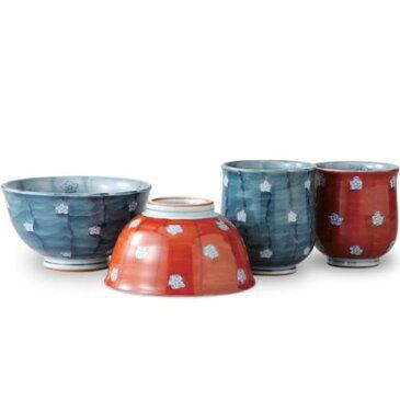 茶碗 湯のみ : 有田焼 内外濃梅 睦 セット(茶碗2客 湯呑み2客セット)