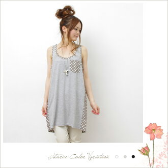 Polka dot different material substitution tunic dress ( Z51465 ) ★ ships